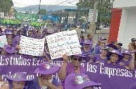 CODEMUH, Mai 2017, Demonstration, Protest, San Pedro Sula, Honduras, Nähfabrik, Kleiderindustrie