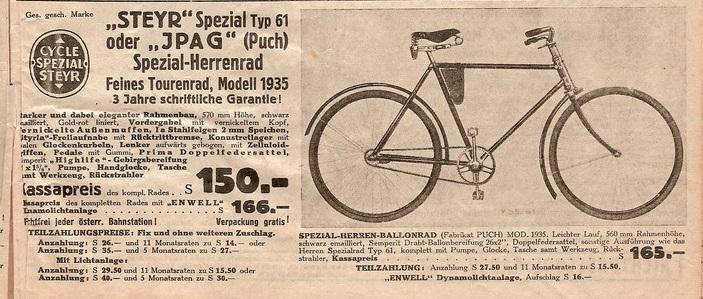 Auszug aus dem Fahrradkatalog der Fa. Niesner aus 1935. Quelle: Wolfgang Höfler, http://www.2-pedals.org