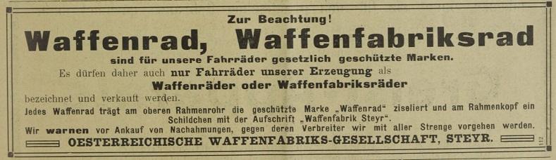 Quelle: Österreichische Nationalbibliothek, Österr. Nähmaschinen- und Fahrrad-Zeitung Mo, 30. September 1912