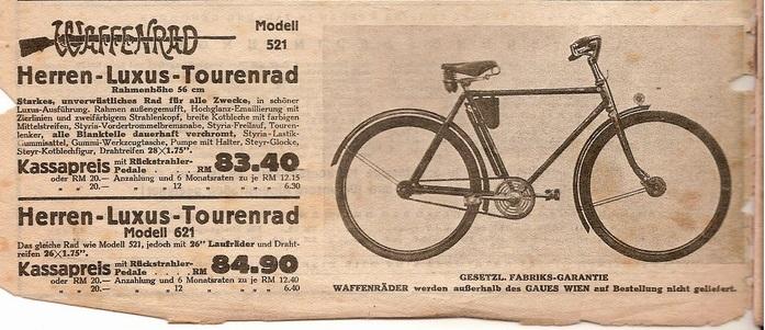 Auszug aus dem Fahrradkatalog der Fa. Niesner aus 1939/40. Quelle: Wolfgang Höfler, http://www.2-pedals.org