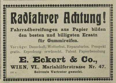 Quelle: Österreichische Nationalbibliothek, Österr. Nähmaschinen- u. Fahrrad-Zeitung vom 30. Juni 1918