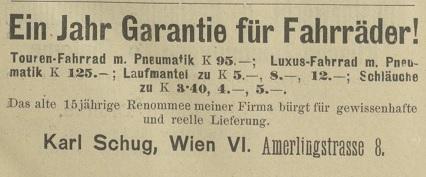 Quelle: Österr. Nationalbibliothek, Radfahrer-Zeitung, 1. November 1908, 1. November 1908