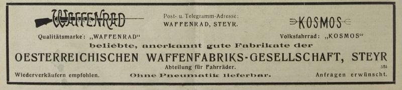Reklame der österr. Waffenfabriks-Gesellschaft in den letzten Kriegsmonaten der K.u.K Monarchie. Quelle: Österreichische Nationalbibliothek, Österr. Nähmaschinen- u. Fahrrad-Zeitung, vom 30. April 1918.