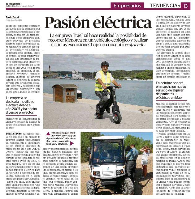 Noticia publicada en el Semanario El Económico - Pasión eléctrica, TRAELBAL