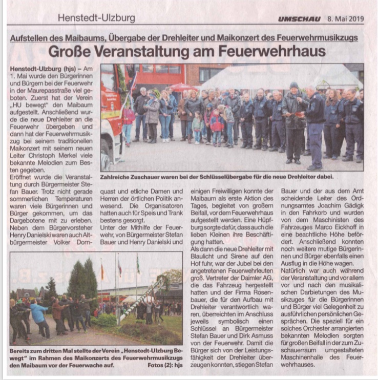 Artikel Umschau Maikonzert zum Orchester Henstedt-Ulzburg