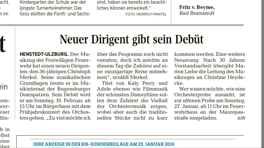 Das Orchester / Musikzug in der Segeberger Zeitung Christoph Merkel