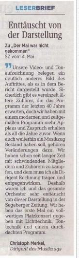 Artikel Segeberger Zeitung Richtigstellung Maikonzert Henstedt-Ulzburg