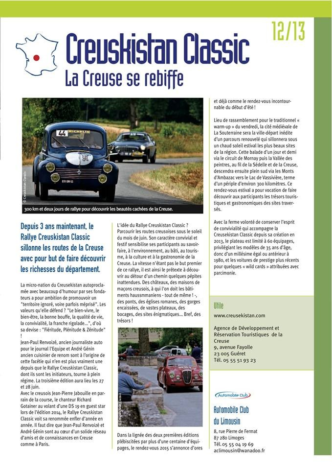 Dans son numéro 126, daté d'avril 2015, le magazine de l'Union Nationale des Automobiles Clubs, Côté Auto, consacre une pleine page au Creusekistan Classic 2015.
