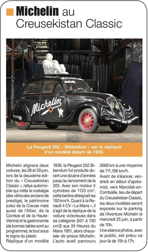 Paru dans INFO MAGAZINE du 23 juin... Un papier consacré aux deux voitures engagées par MICHELIN sur le CREUSEKISTAN CLASSIC 2014.