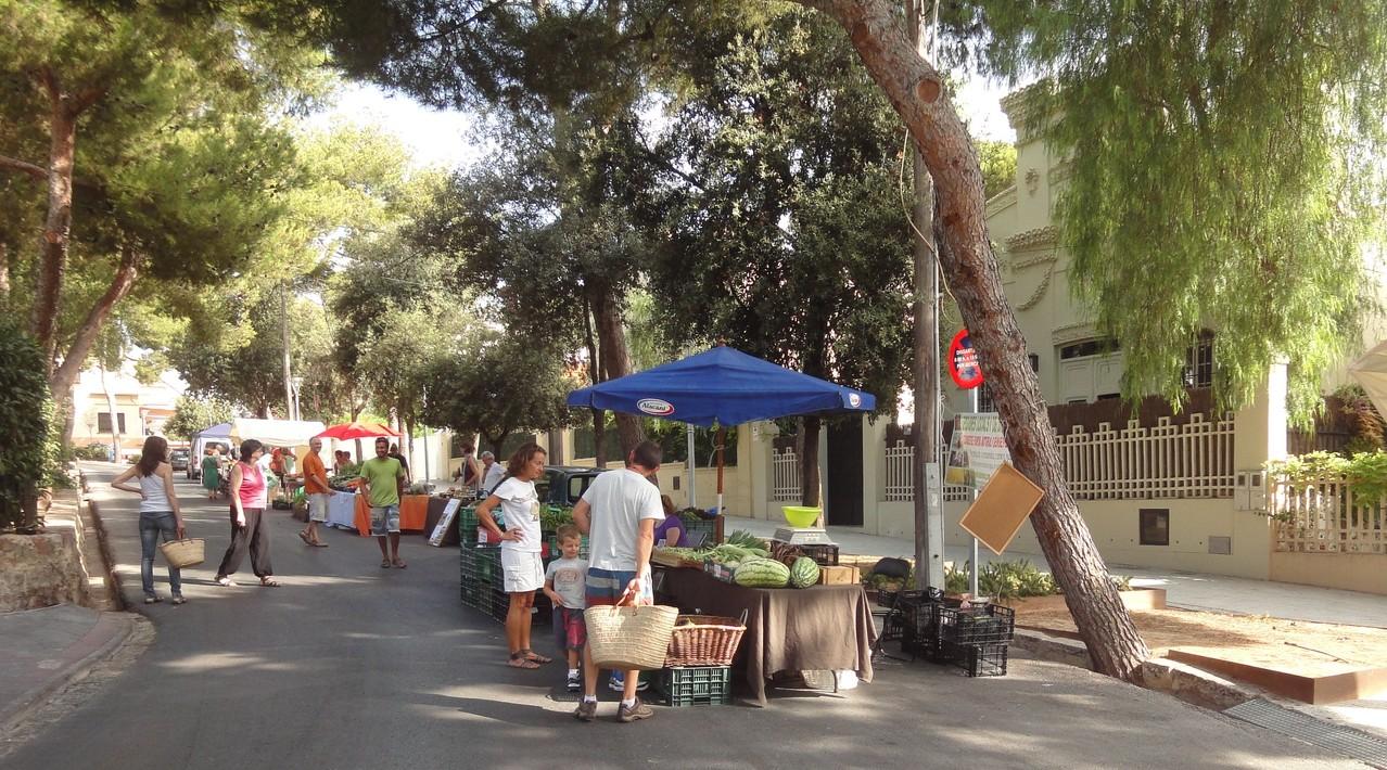 Altra vista del mercat, els clients visiten les parades de verdures i fruites naturals