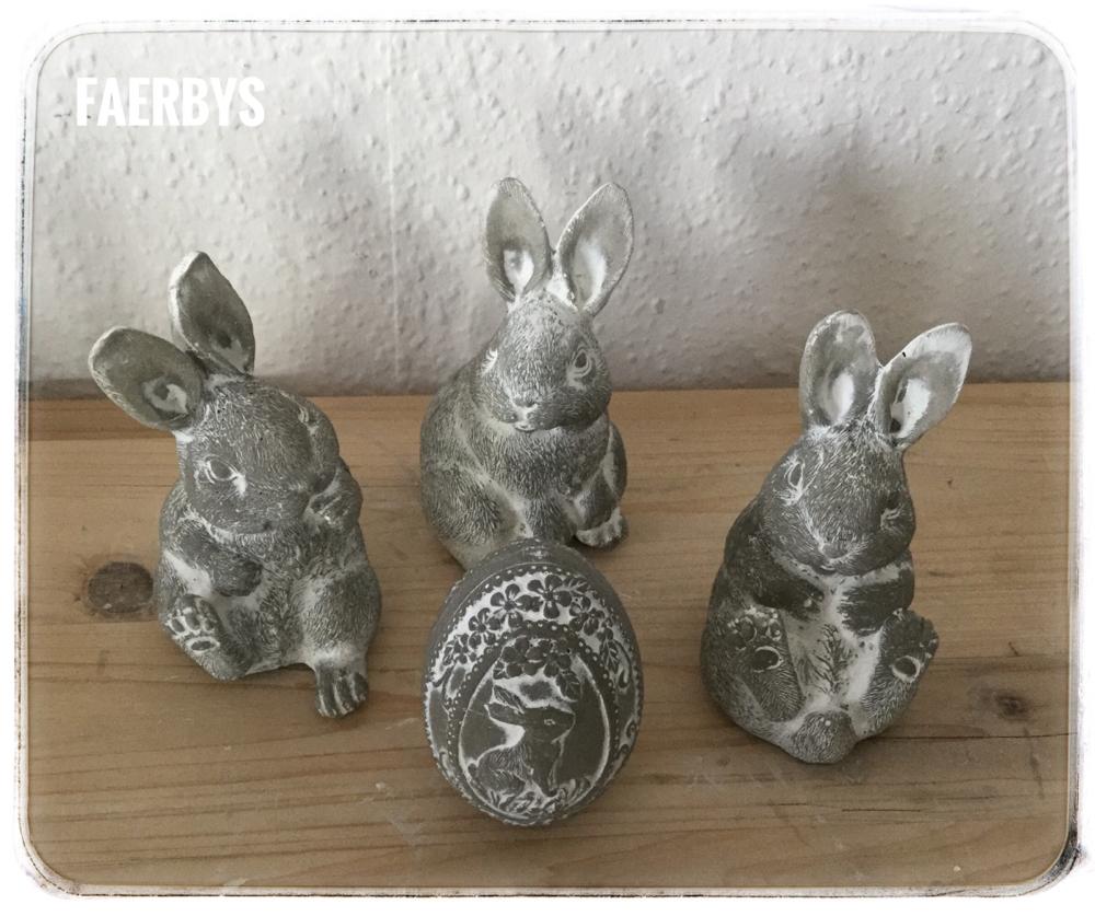 Kaninchenbande Beton weiß patiniert