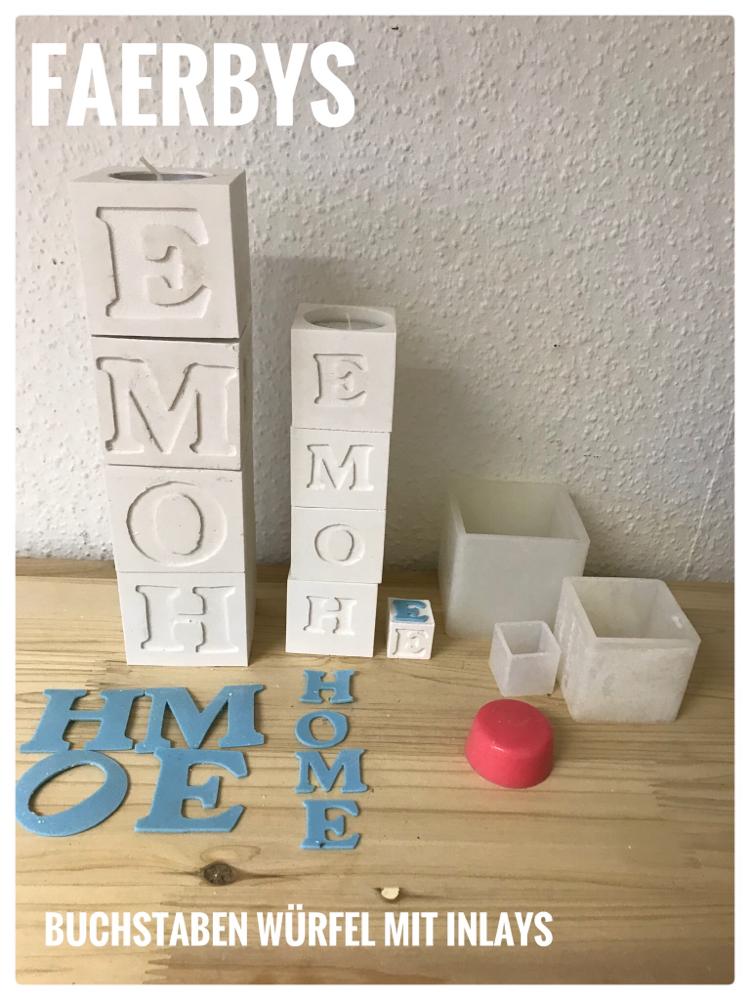 Silikon Buchstaben Inlays  mit Würfel und Teelicht Platzhalter
