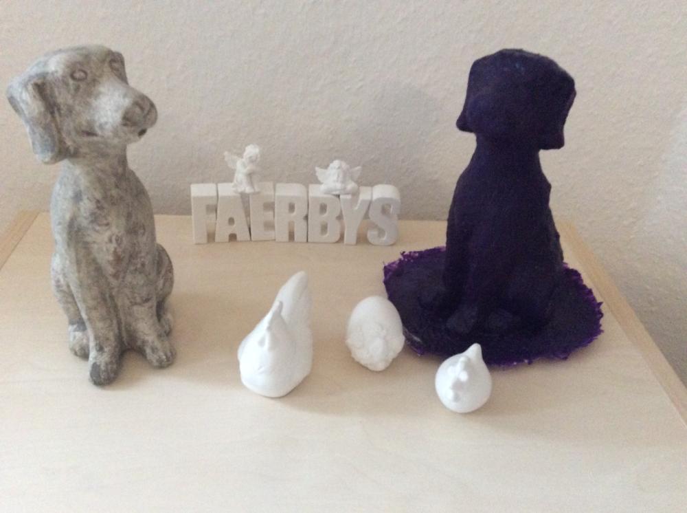 Hund gegossen mit Faerbys Latexform - Steinguss  - Osterdeko aus porzellanartige Gussmasse