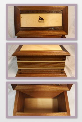 custom dovetailed mahogany box with zebrawood, maple and walnut inlay