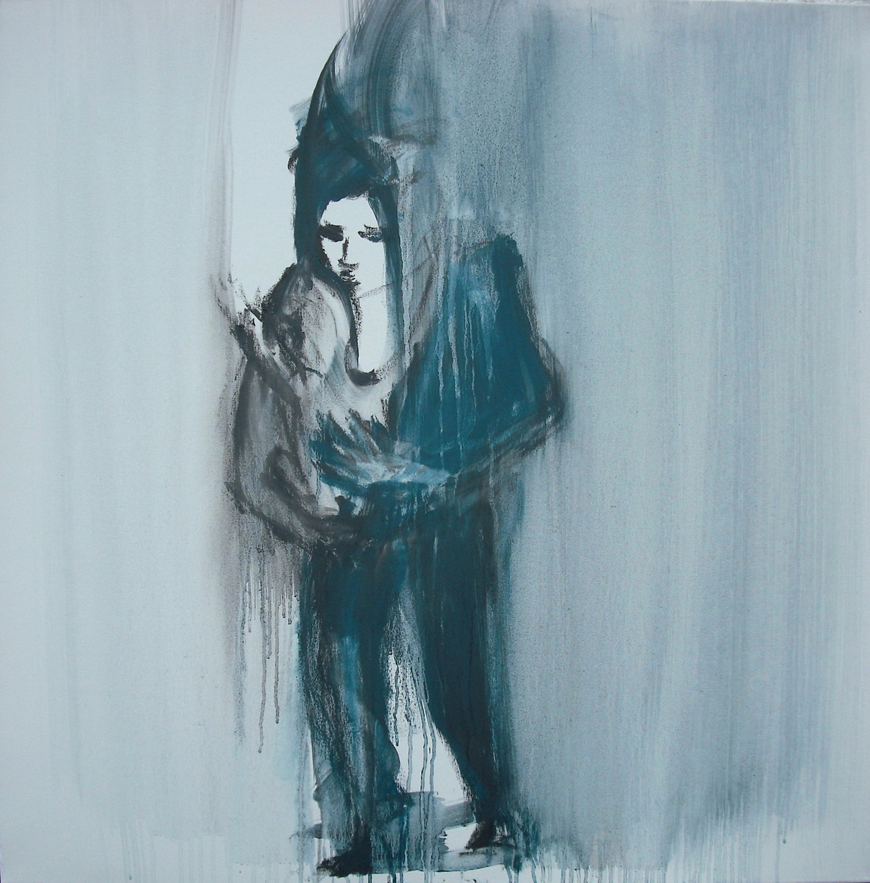mother with child (Graphite on Canvas, 100x80cm)