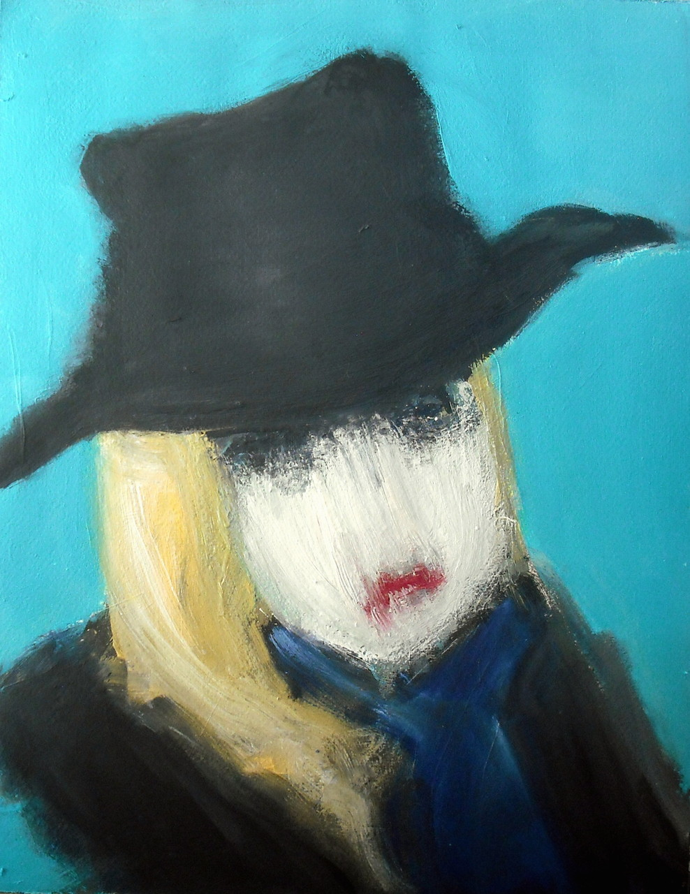 Dame in Schwarz (Acrylic on Paper, 48x36cm)