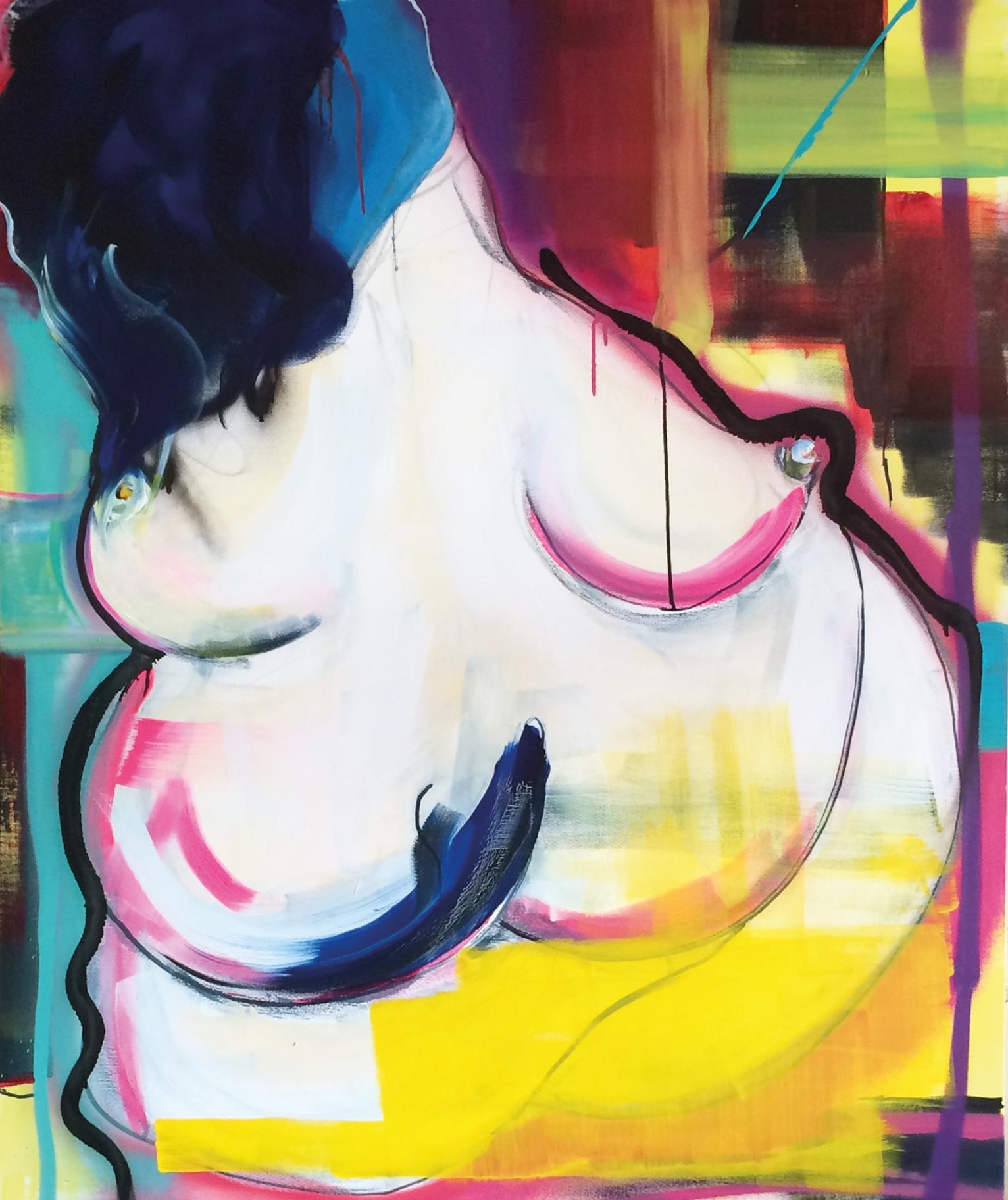 alea abdita est (Acrylic, Spray Paint, Ink, Graphite on Canvas, 120x100cm)