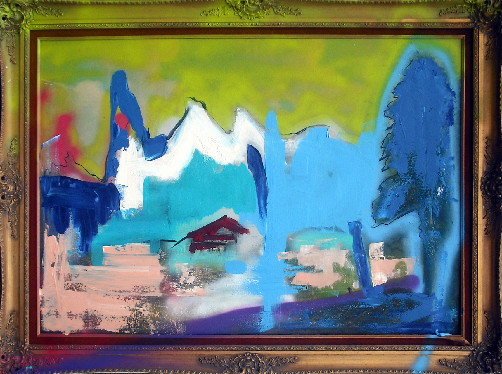 'bully waste-landscape renewed' (Spray paint, Acrylic and Ink on Canvas, 120x90cm)