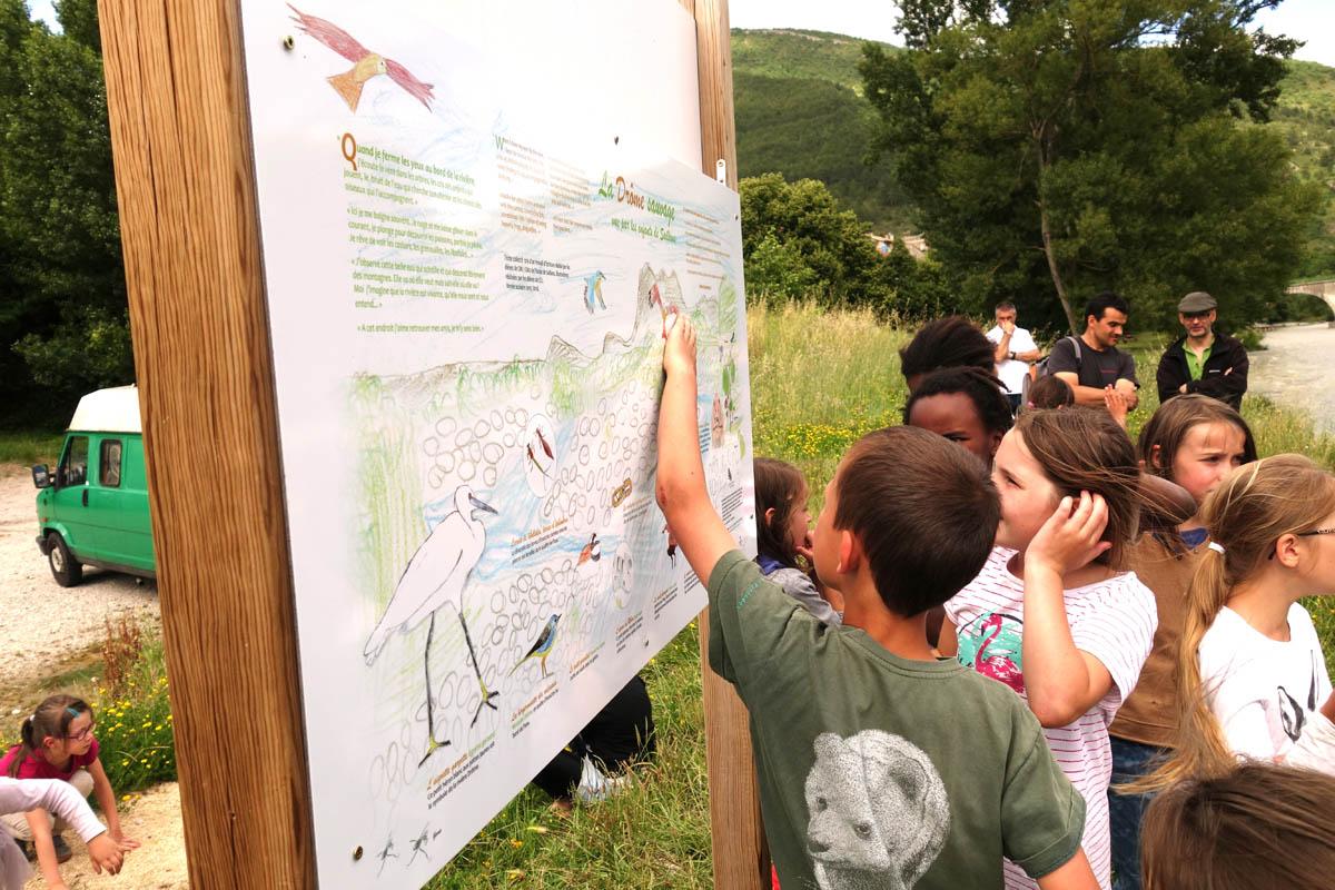 """Projet """"Rivière et écocitoyenneté"""", création d'un panneau pour la commune  (école élémentaire de Saillans)"""