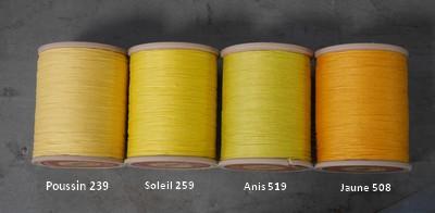 Comparaison des couleurs de fils de lin