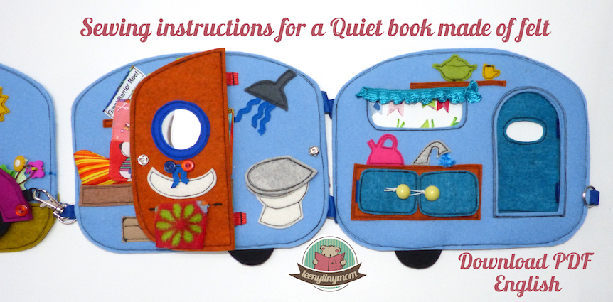 Quiet book Teddy Camper outdoor Activity book sewing tutorial pattern
