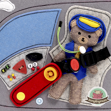 Quiet book Activity book sewing tutorial pattern Teddy flying around the world