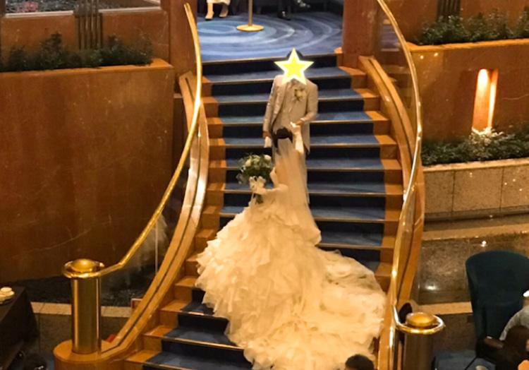 お客さま☆ベイシェラトンホテル&タワーズでの結婚式☆ウェディングドレス、タキシードは ブライダルナビ提携のプルミエの衣裳