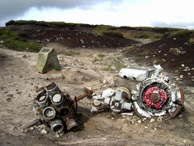 Wreckage of the Superfortress on Bleaklow