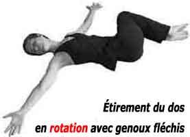 Etirements du dos en rotation genoux fléchis