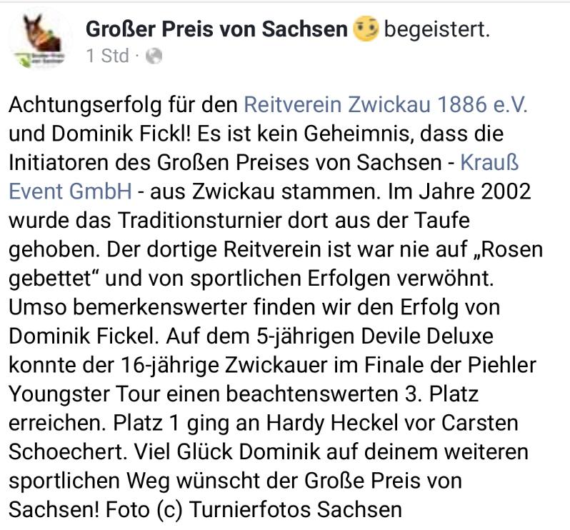 Beitrag auf der Facebook Seite des Großen Preis von Sachsen