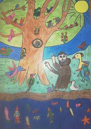 Unser Schul-Logo zeigt Franziskus, wie er Fischen und Vögeln predigt. Das Bild malte vor Jahren ein tamilischer Schüler nach einer Vorlage.