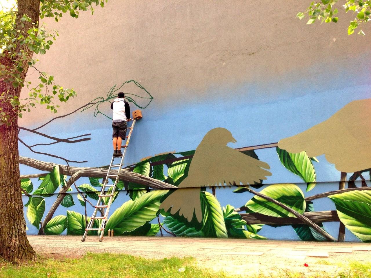 Graffitikünstler an der Fassade gestaltet Fassadenbild