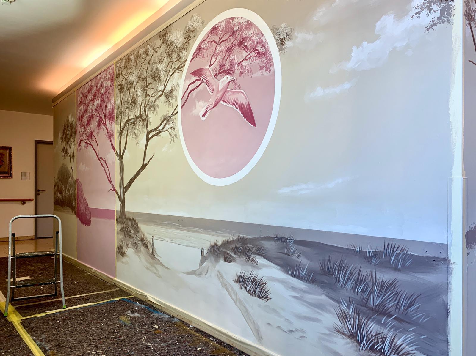 Graffiti Wandbild an der Wand Fassade oder Büro Wände