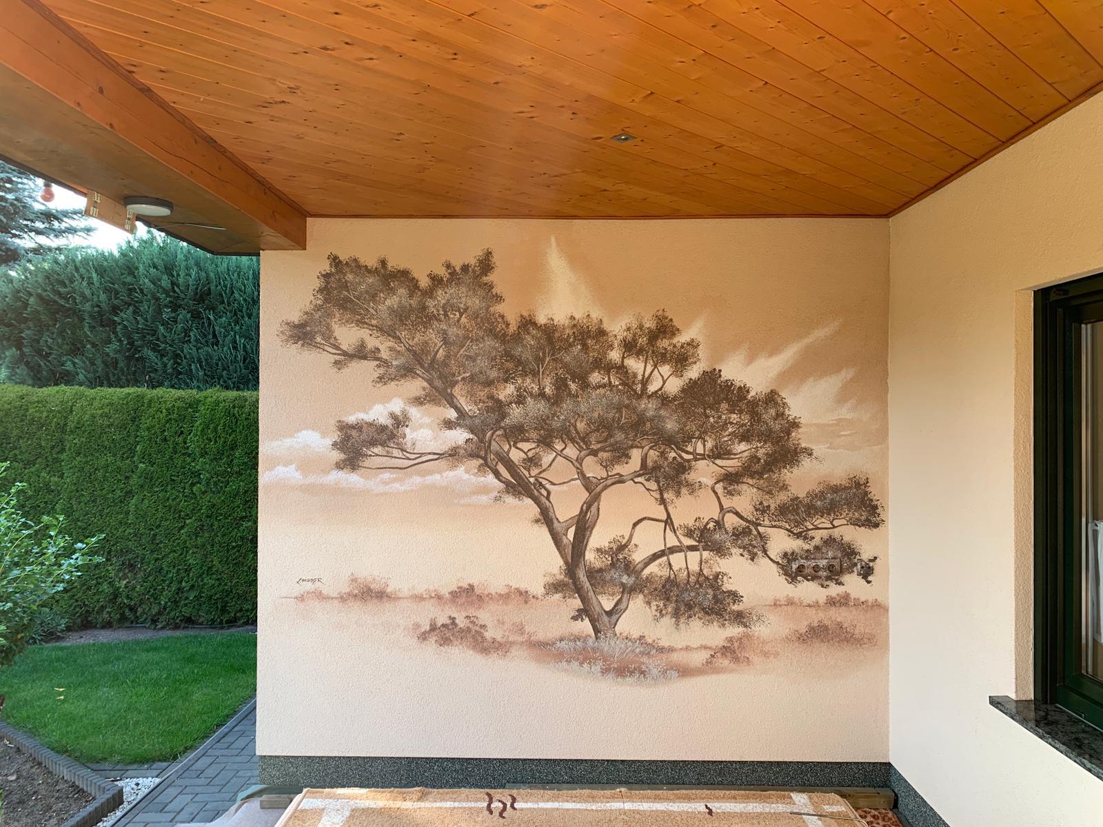 Graffiti Bild Auftrag Baum gemalt