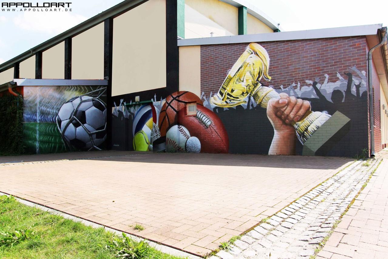 Alle Sportarten vereint auf einen und in einem Wandgraffiti