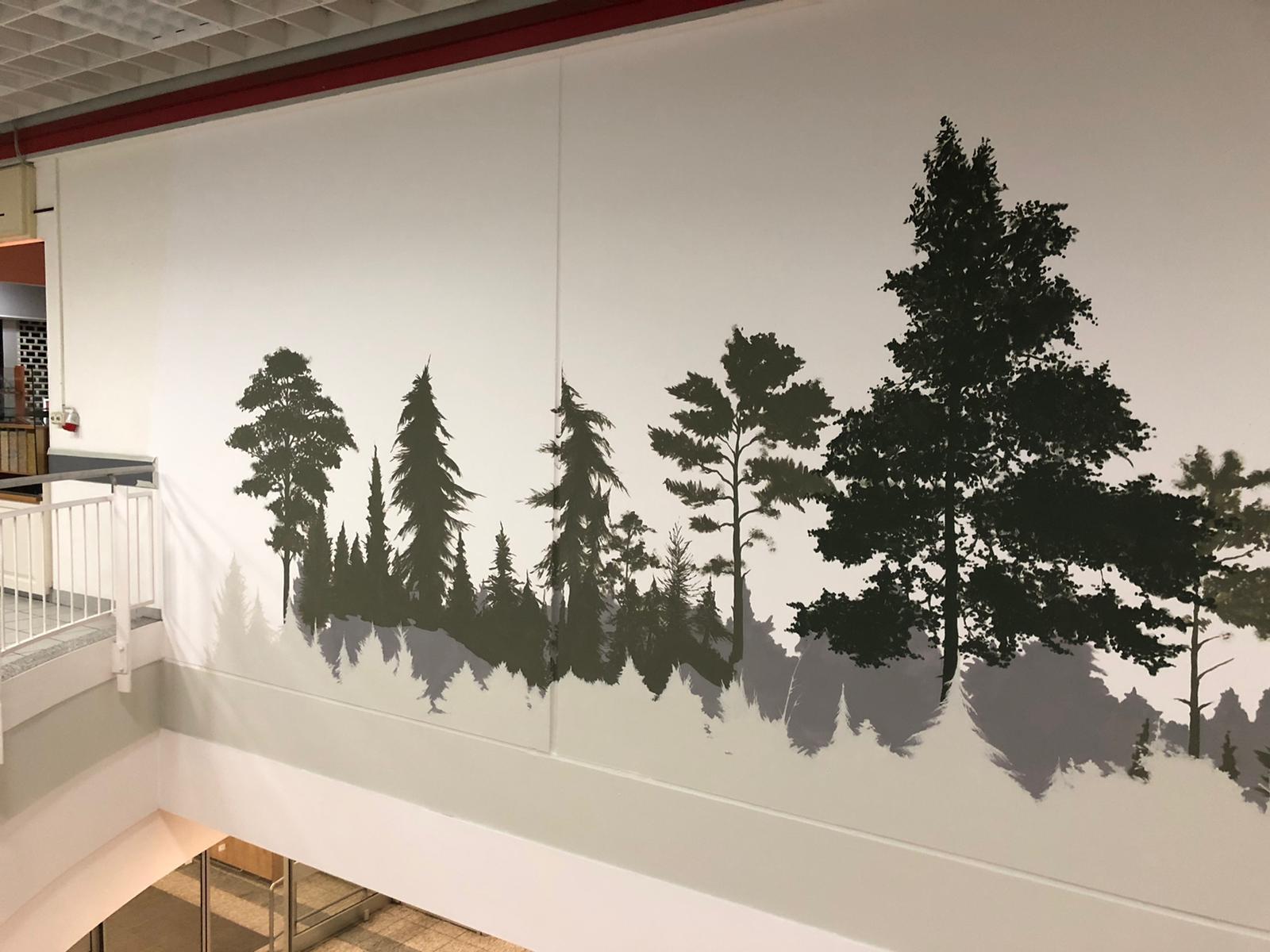 Wandgestaltung Wandmalerei Innenraum Kaufland