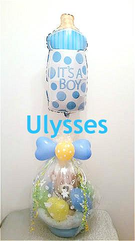 茨城県つくば市 バルーンアート ユリシス 出産祝い オムツケーキ 透明風船 ふうせんや バルーンラッピング