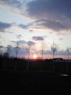 空を赤く染めた夕日