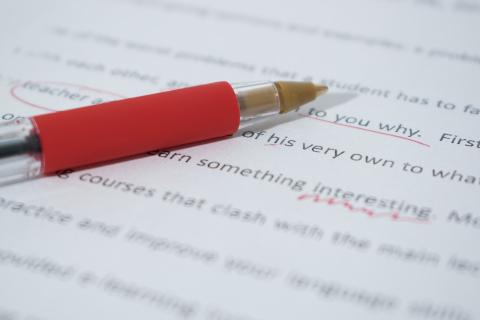 Symbolbild Übersetzungslektorat Leipzig: Fehler in einem Dokument sind mit einem roten Stift markiert