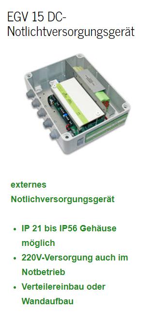EGV 15 DC-Notlichtversorgungsgerät