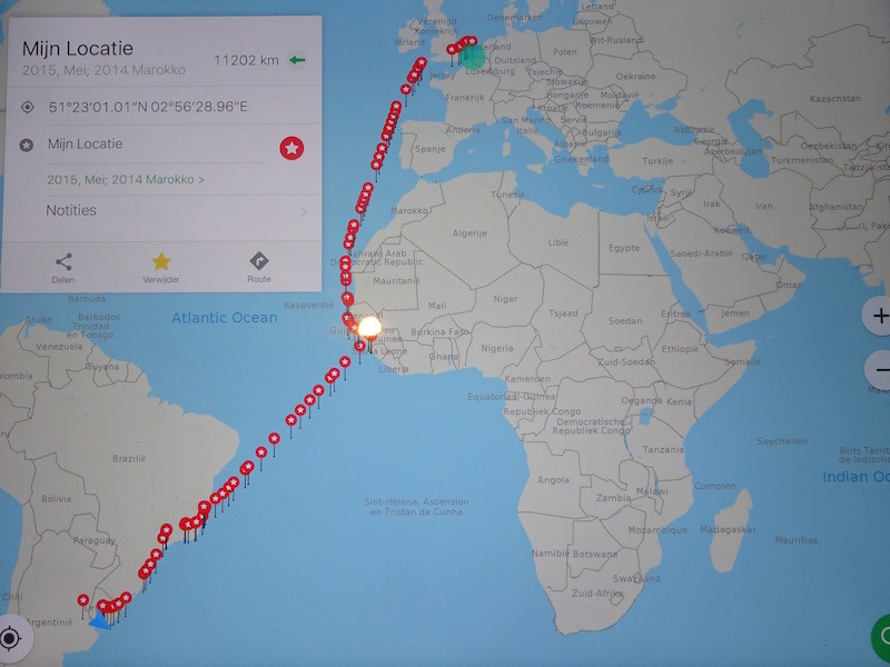 Reiseroute: Hamburg-London-Antwerpen-Dakar-Conakry-Freetown-Vitoria-Rio de Janeiro-Santos-Montevideo