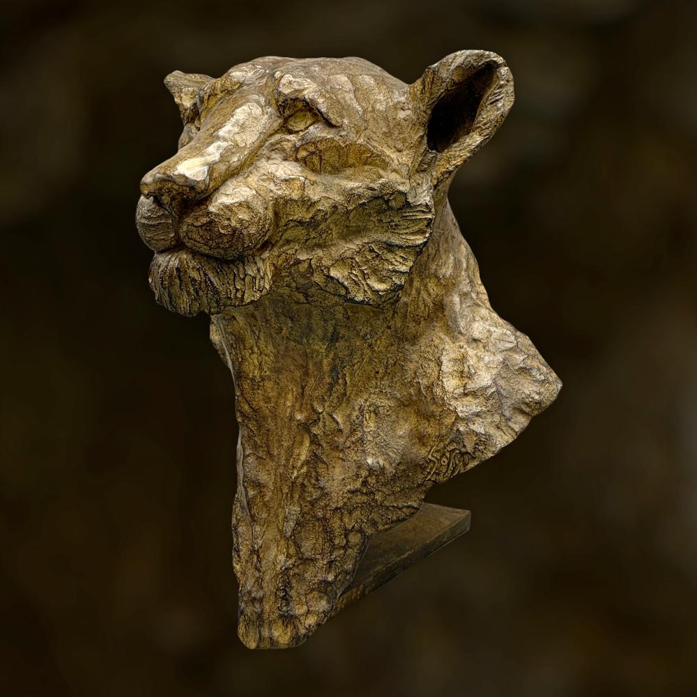 bronze animalier, sculpture, bronze,  lionne, Sophie Gérault, art animalier