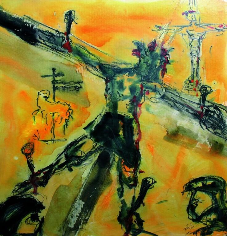 Elfte Station: Jesus wird ans Kreuz genagelt