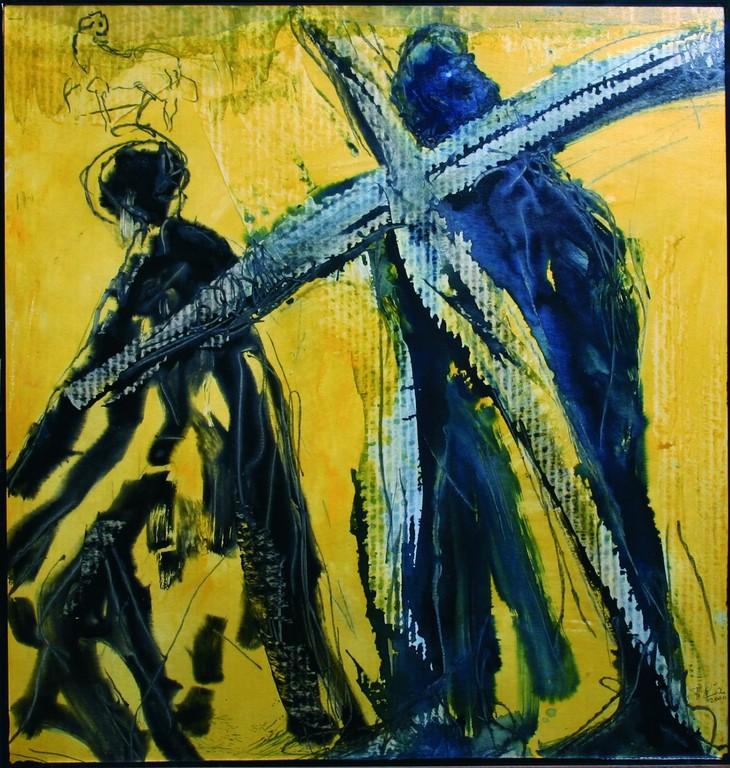 Fünfte Station: Simon von Cyrene hilft Jesus das Kreuz zu tragen