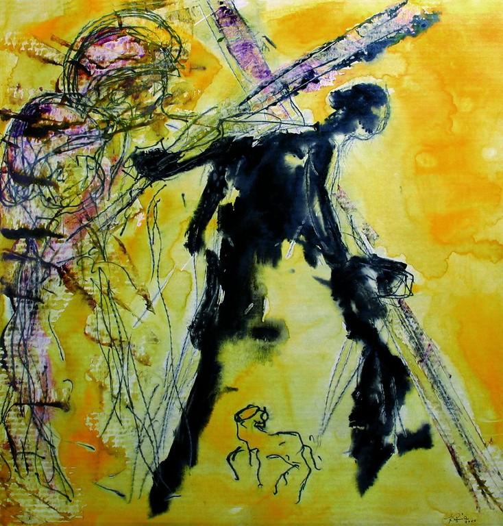 Zweite Station: Jesus nimmt das Kreuz auf die Schulter