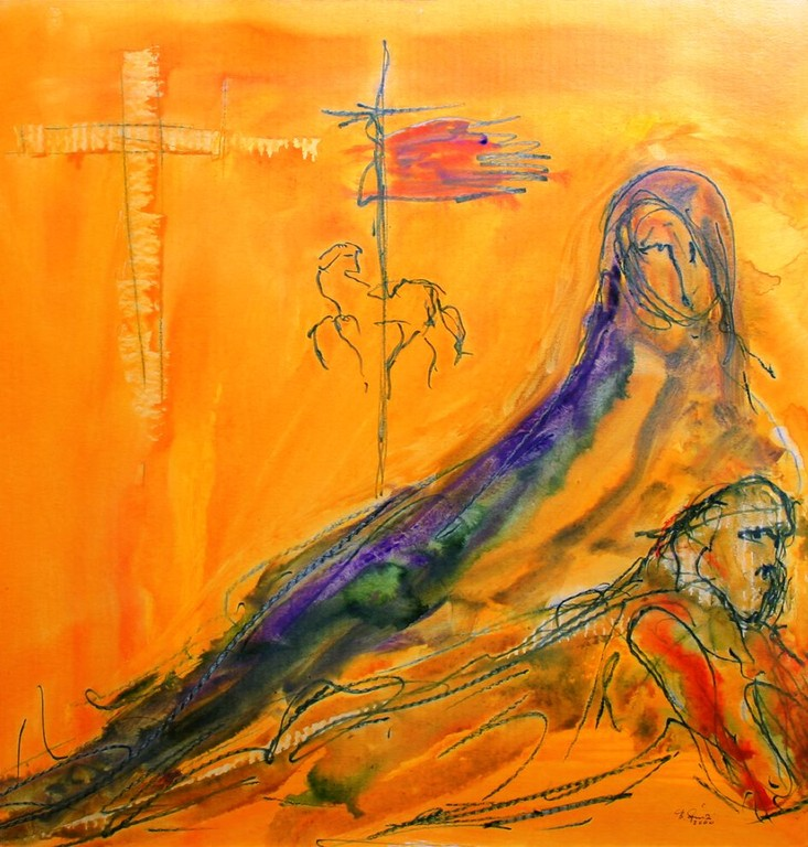 Dreizehnte Station: Jesus wird vom Kreuz abgenommen und in den Schoß seiner Mutter gelegt