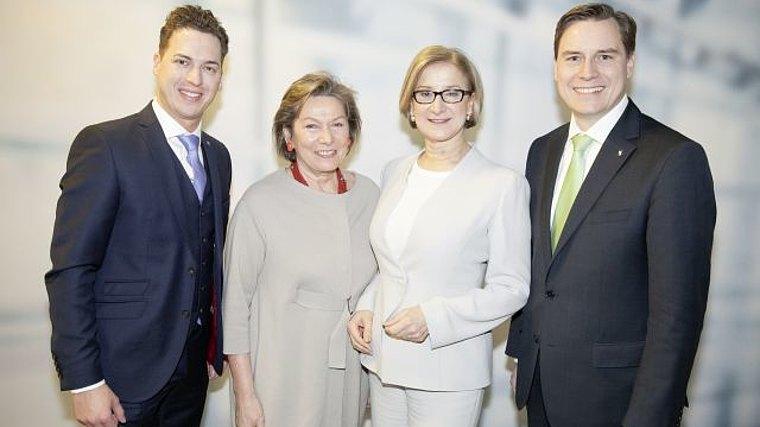 Landtagsabgeordnete Bernhard Heinreichsberger und Christoph Kaufmann, Bundesrätin Sonja Zwazl und Landeshauptfrau Johanna Mikl-Leitner