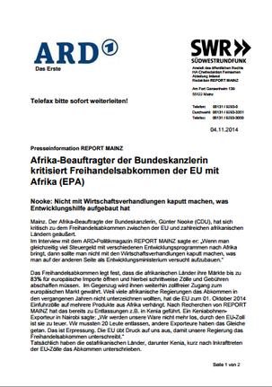 Afrika-Beauftragter der Bundeskanzlerin kritisiert Freihandelsabkommen der EU mit Afrika (EPA)