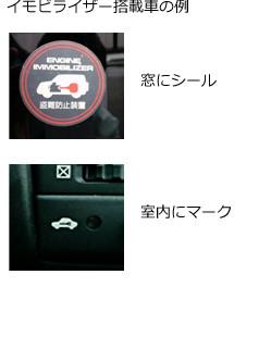 イモビライザー搭載車の例