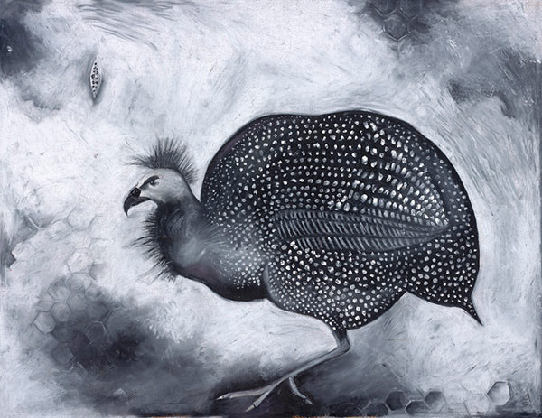 An oil pastel drawing of a Guinea Hen by artist Ande Cook